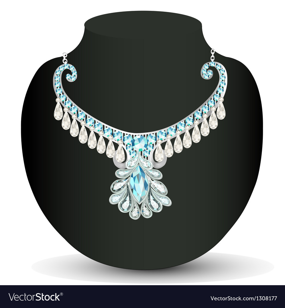 Necklace womens wedding with precious stones vector | Price: 1 Credit (USD $1)