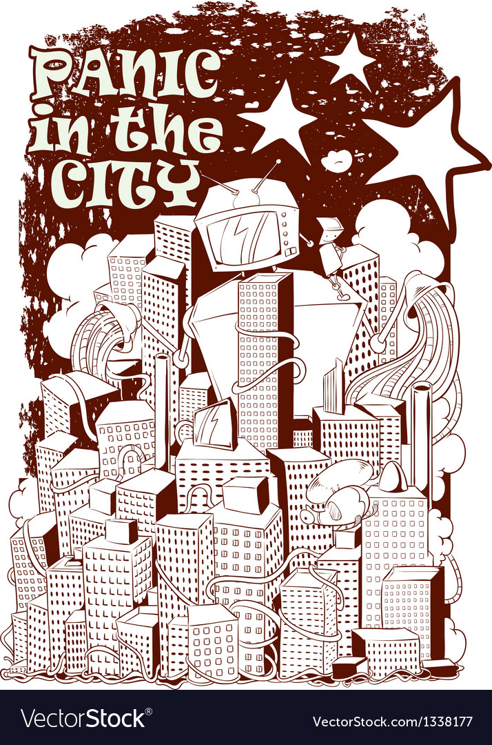 Panic in the city vector | Price: 3 Credit (USD $3)