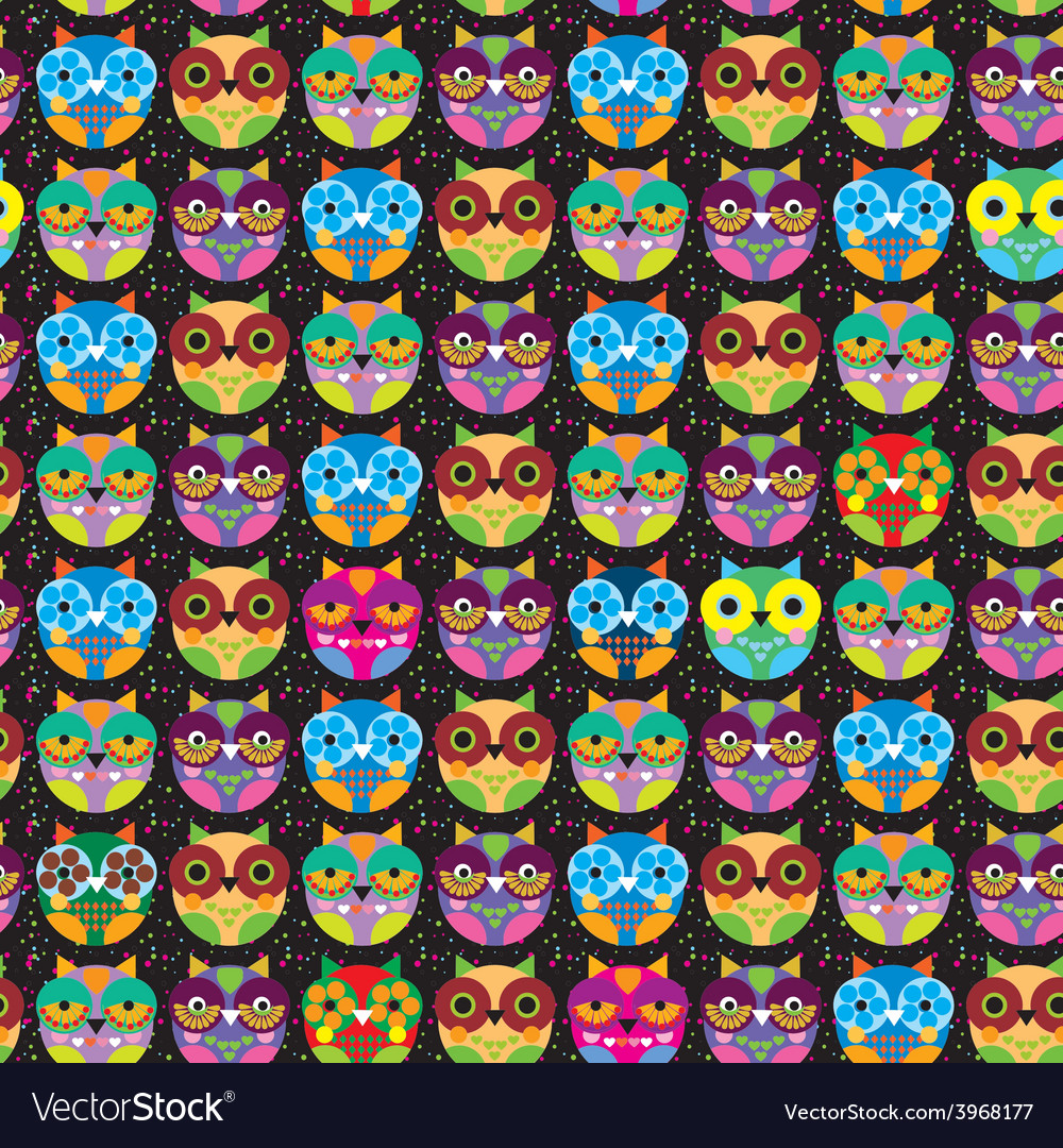 Seamless pattern with bright colored owl on a vector | Price: 1 Credit (USD $1)