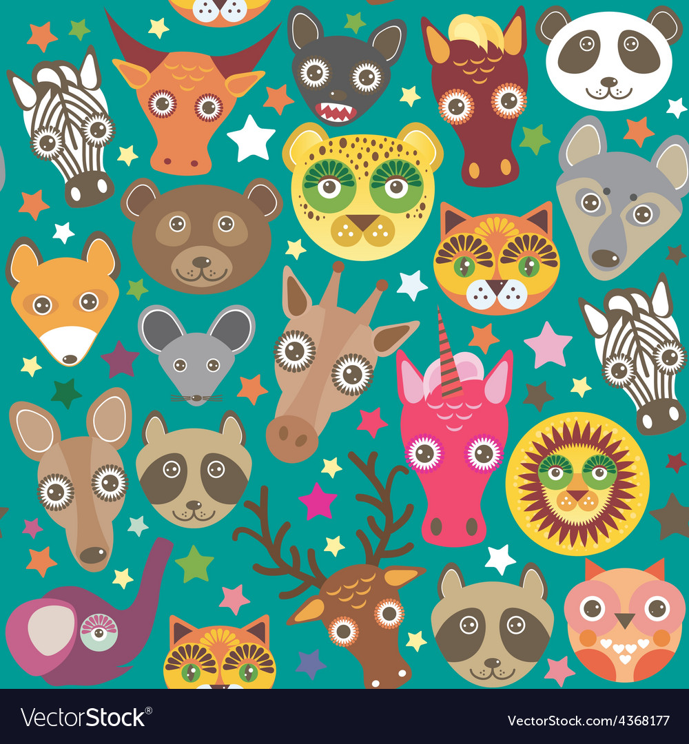 Set of funny animals muzzle seamless pattern teal vector | Price: 1 Credit (USD $1)