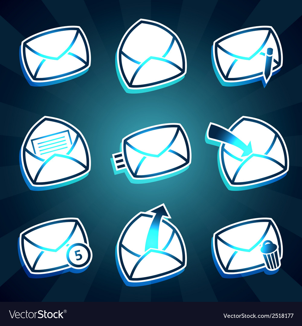 Set of icons messages envelop for email vector | Price: 1 Credit (USD $1)