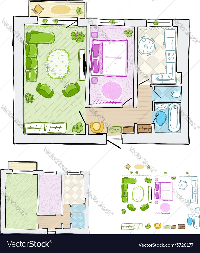 Sketch of design interior apartment hand drawn vector | Price: 1 Credit (USD $1)