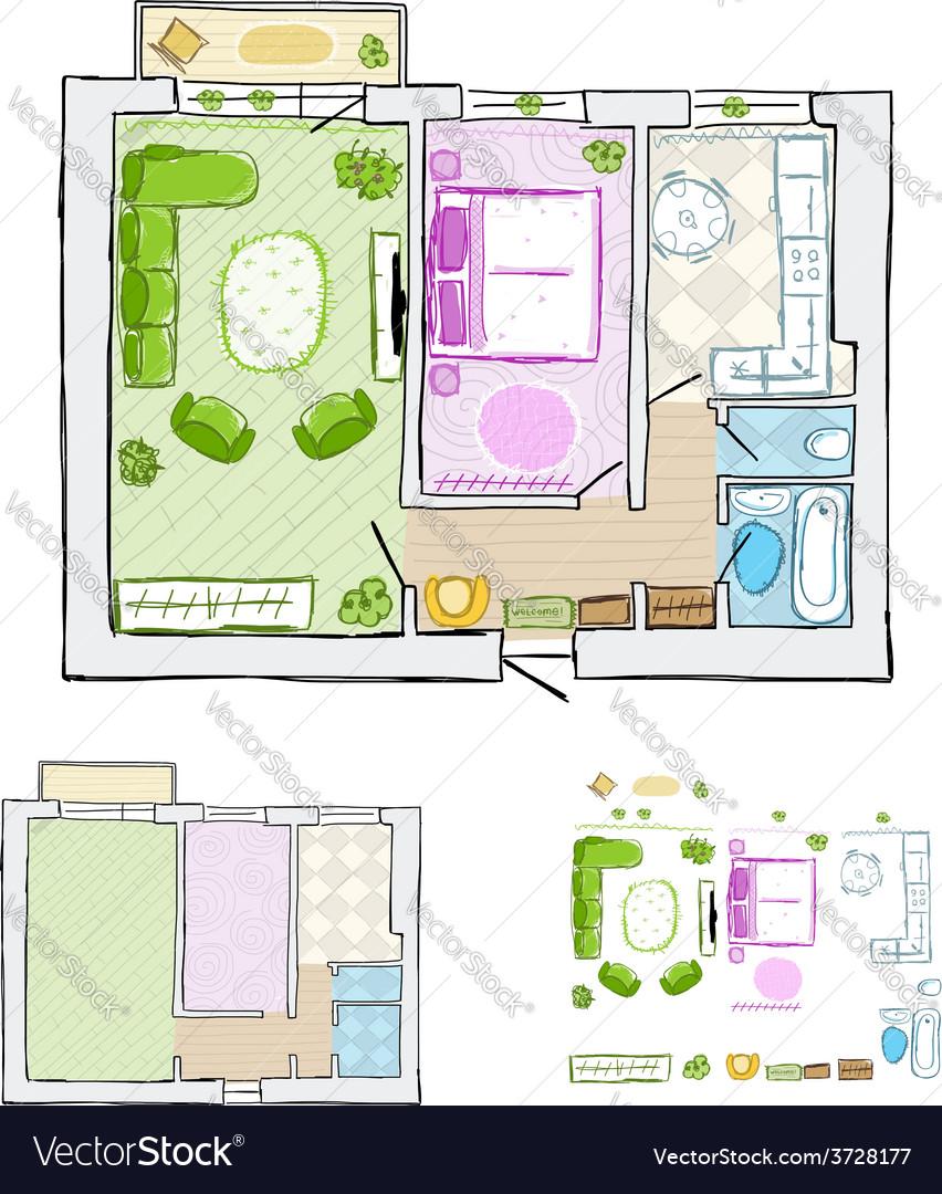 Sketch of design interior apartment hand drawn vector | Price: 1 Credit (USD $1)