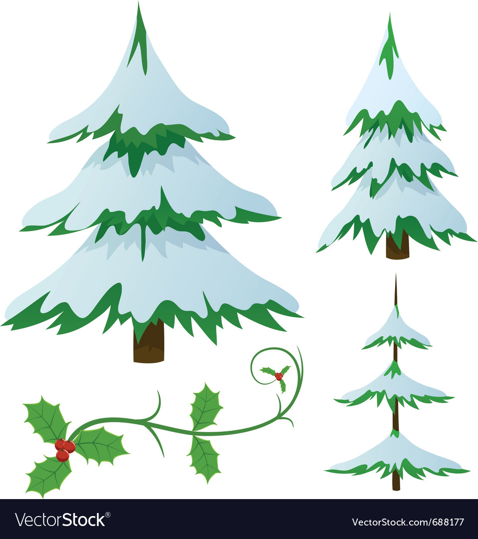 Snow covered fir trees vector | Price: 1 Credit (USD $1)