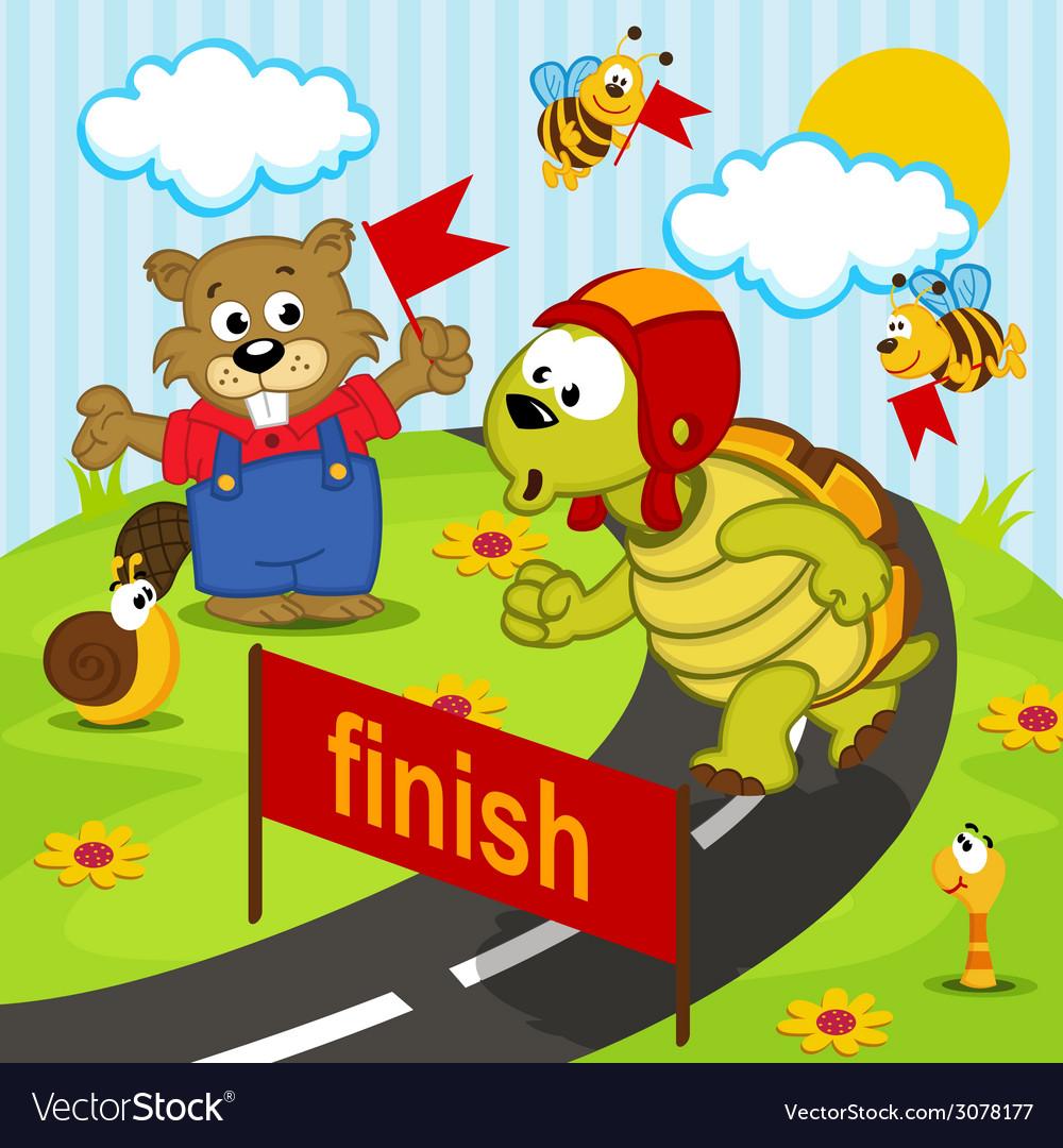 Turtle athlete runs vector | Price: 1 Credit (USD $1)