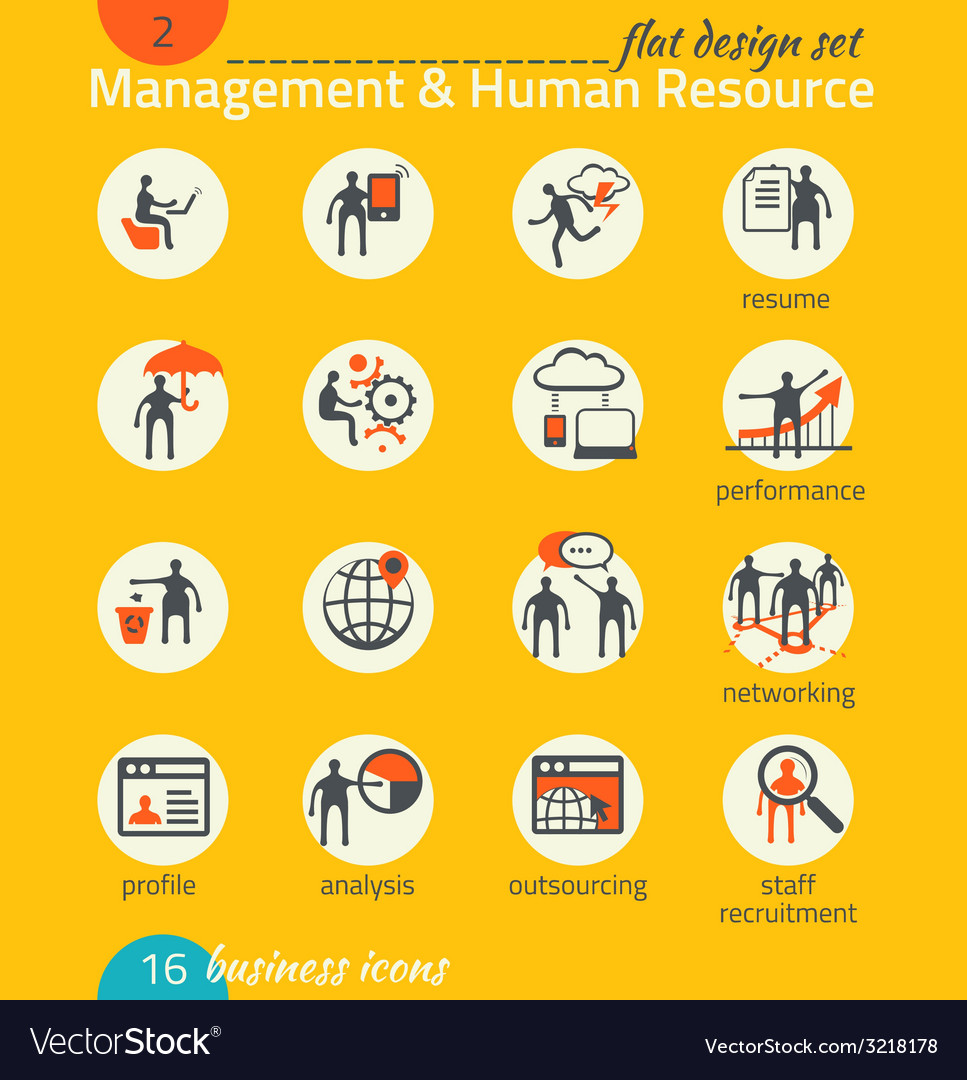 Business icon set management human resources vector | Price: 1 Credit (USD $1)