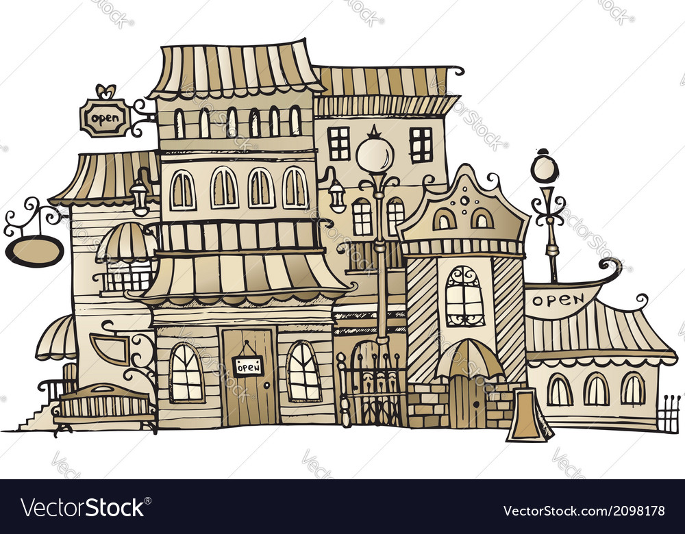 Cartoon sepia drawing town vector | Price: 1 Credit (USD $1)