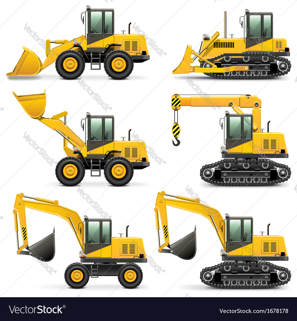 Construction machines set 3 vector | Price: 1 Credit (USD $1)