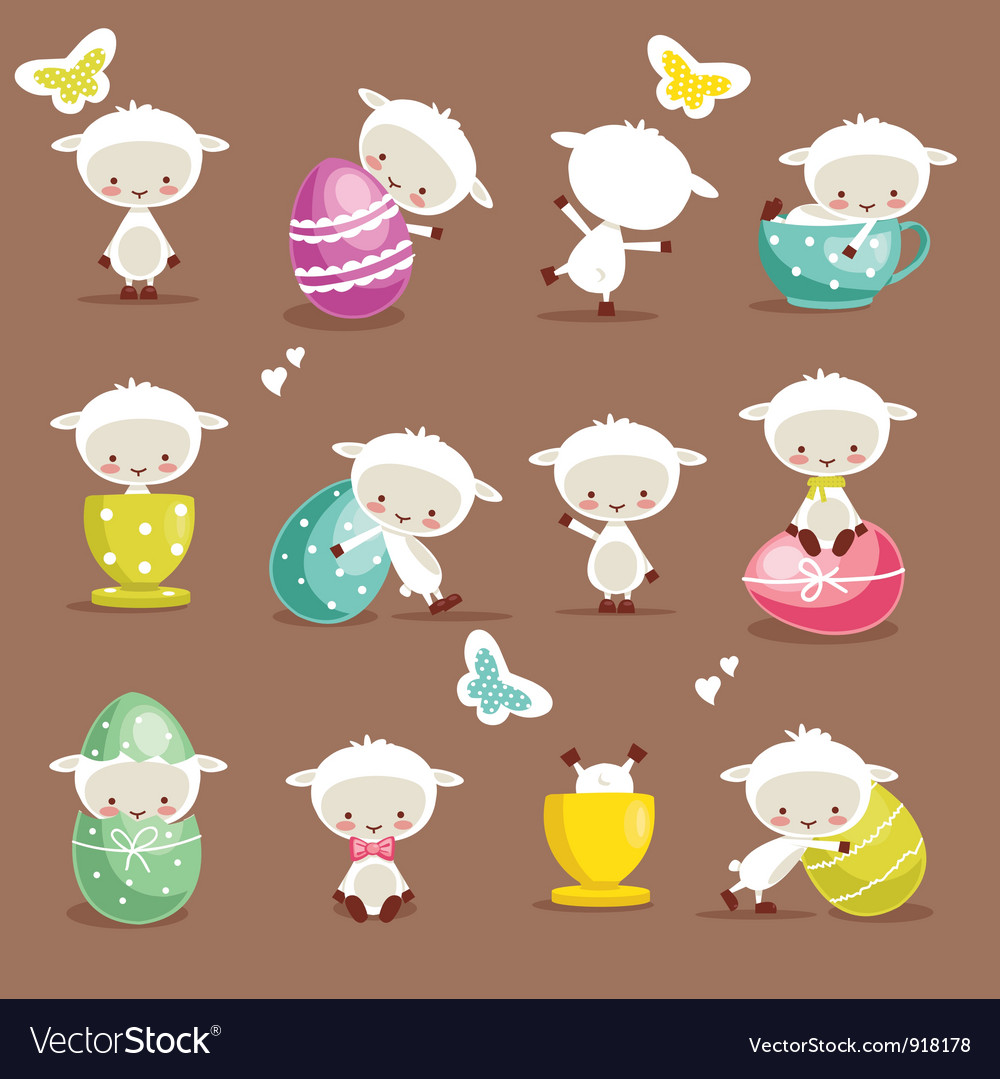Cute easter character set vector | Price: 1 Credit (USD $1)