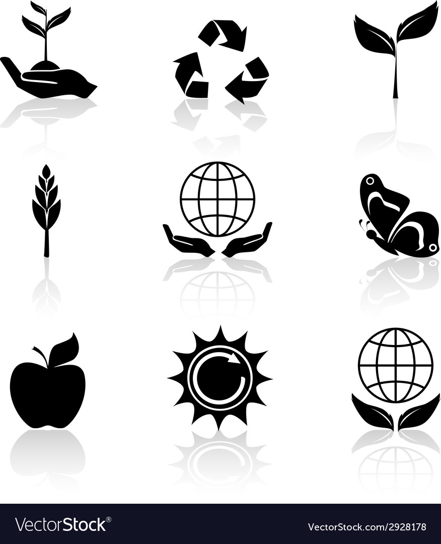 Ecology icons set black vector | Price: 1 Credit (USD $1)