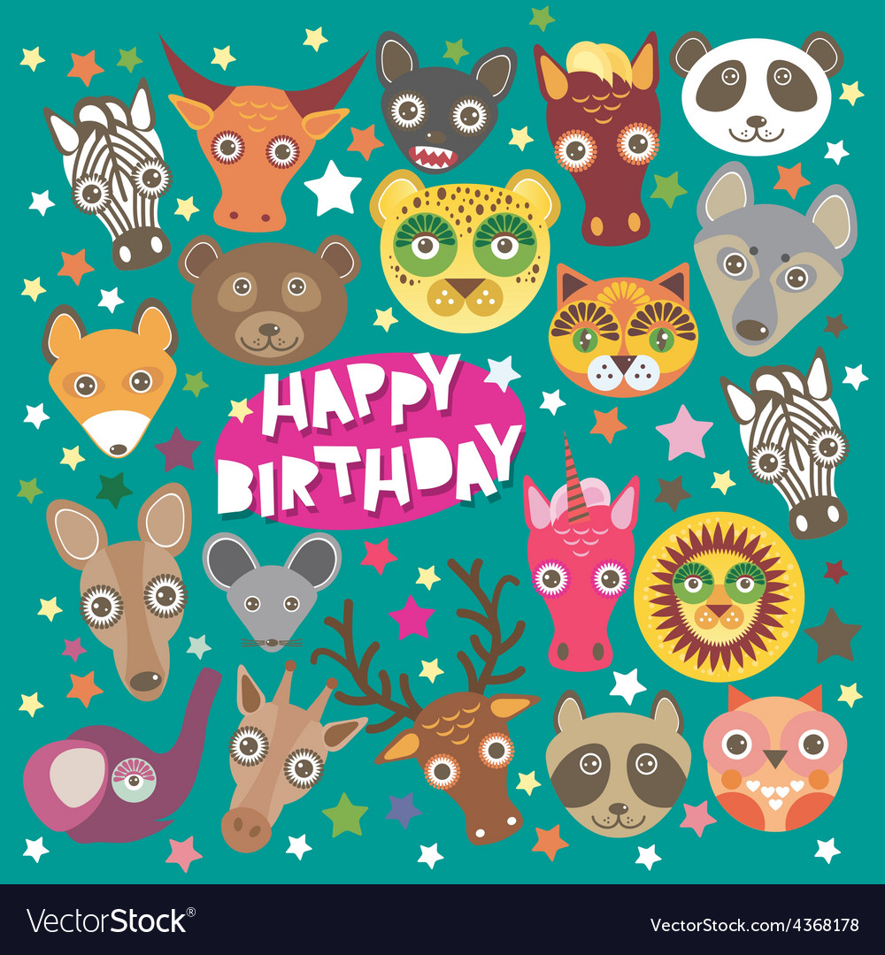 Happy birthday card funny animals muzzle teal vector | Price: 1 Credit (USD $1)