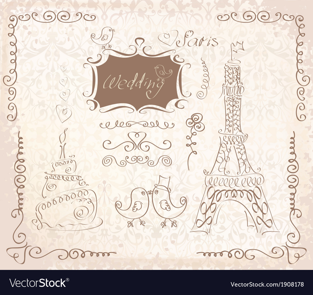 Love in paris doodles vector | Price: 1 Credit (USD $1)