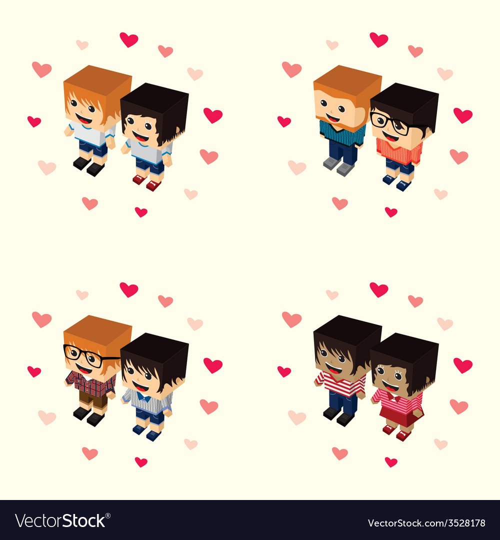 Romance block isometric cartoon character vector | Price: 1 Credit (USD $1)
