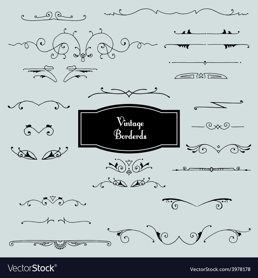Set of borders in vintage style vector | Price: 1 Credit (USD $1)
