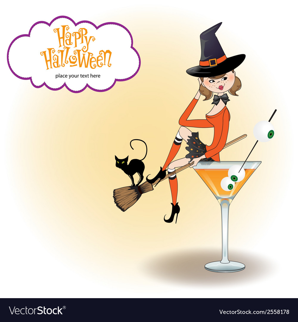 Sexy witch sits in a glass of poison vector | Price: 1 Credit (USD $1)
