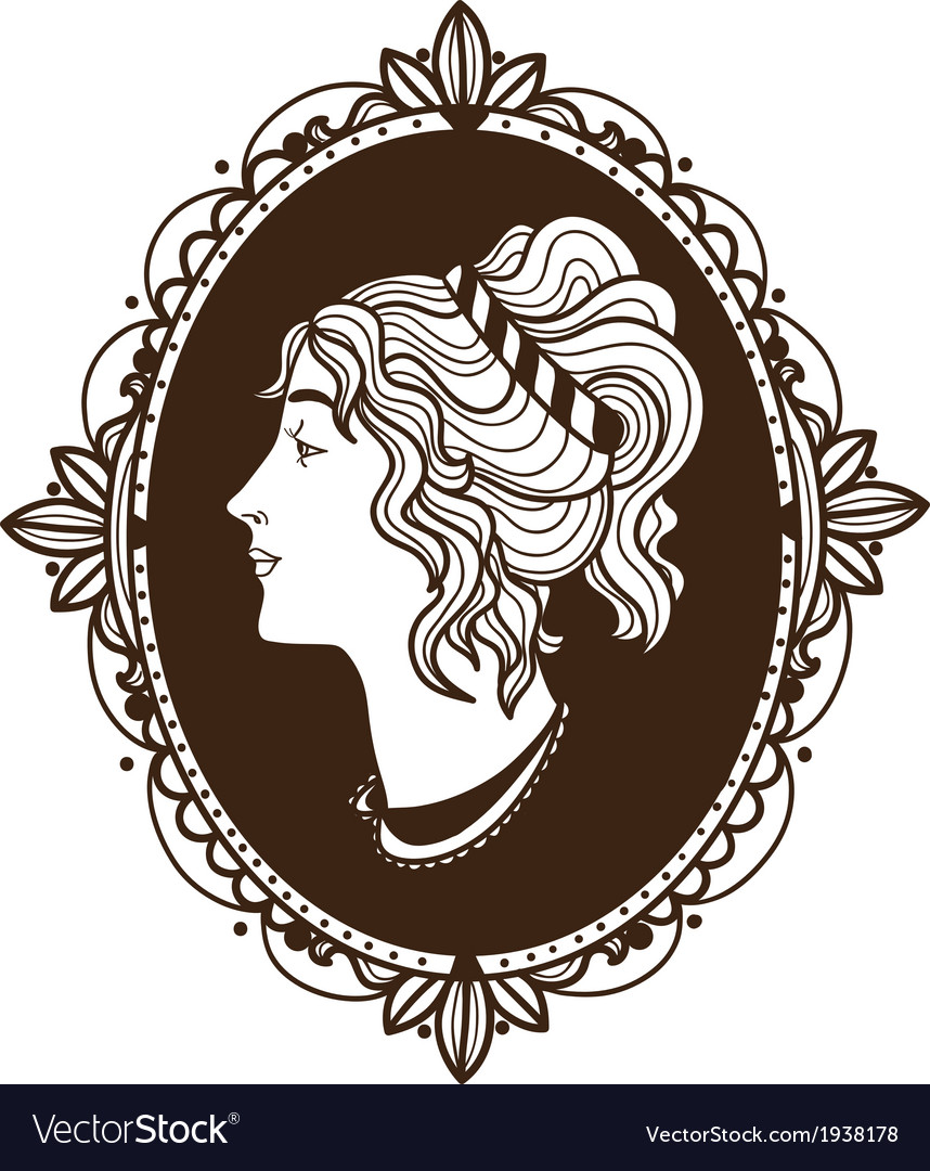 Vignette frame with woman profile vector | Price: 1 Credit (USD $1)