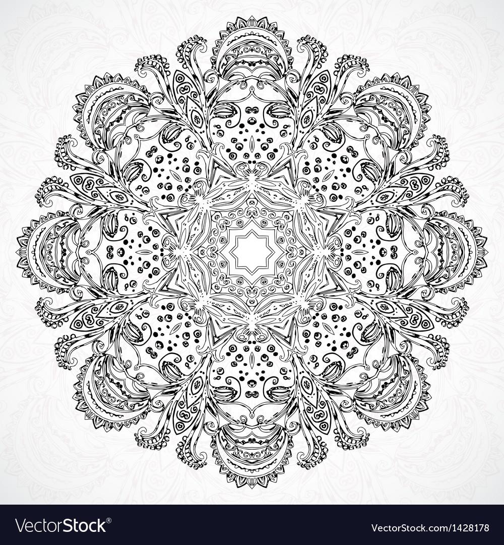 Vintage ethnic ornament mandala background vector | Price: 1 Credit (USD $1)