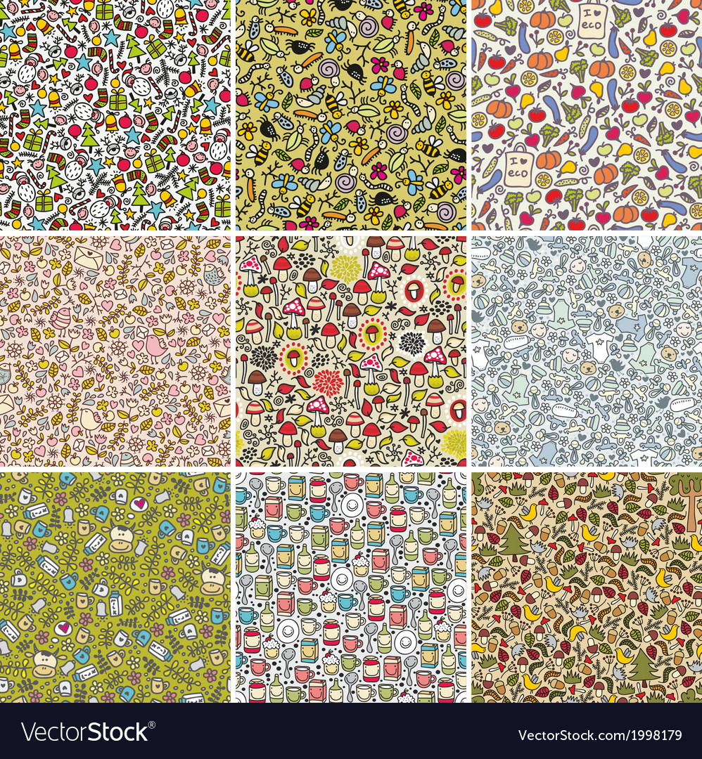 Big set of seamless doodle patterns vector