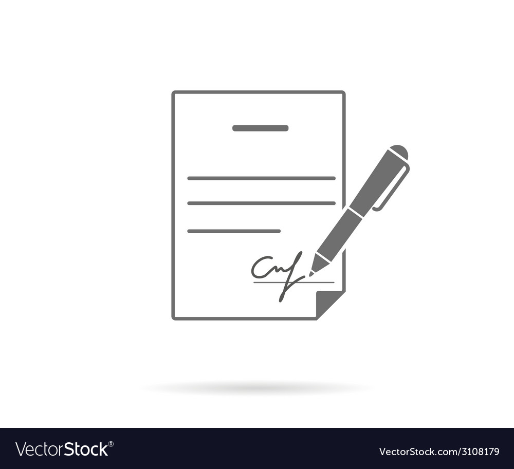 Business contract with signature vector | Price: 1 Credit (USD $1)