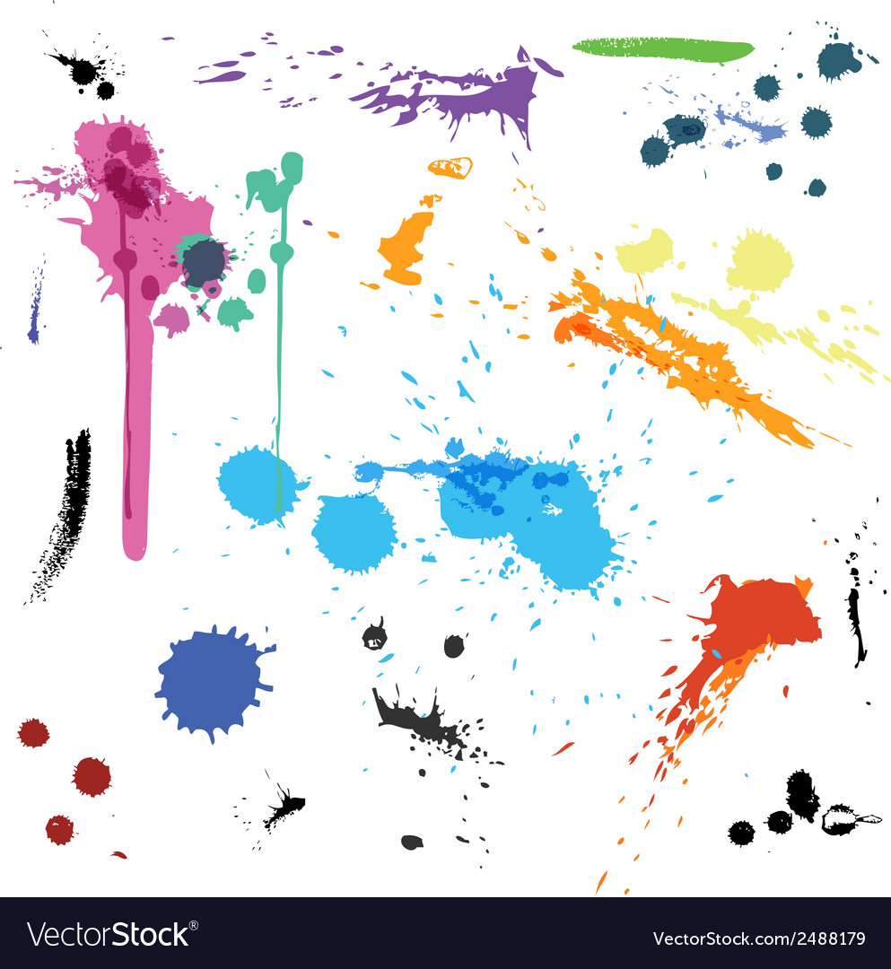 Colorful abstract ink paint splats vector | Price: 1 Credit (USD $1)