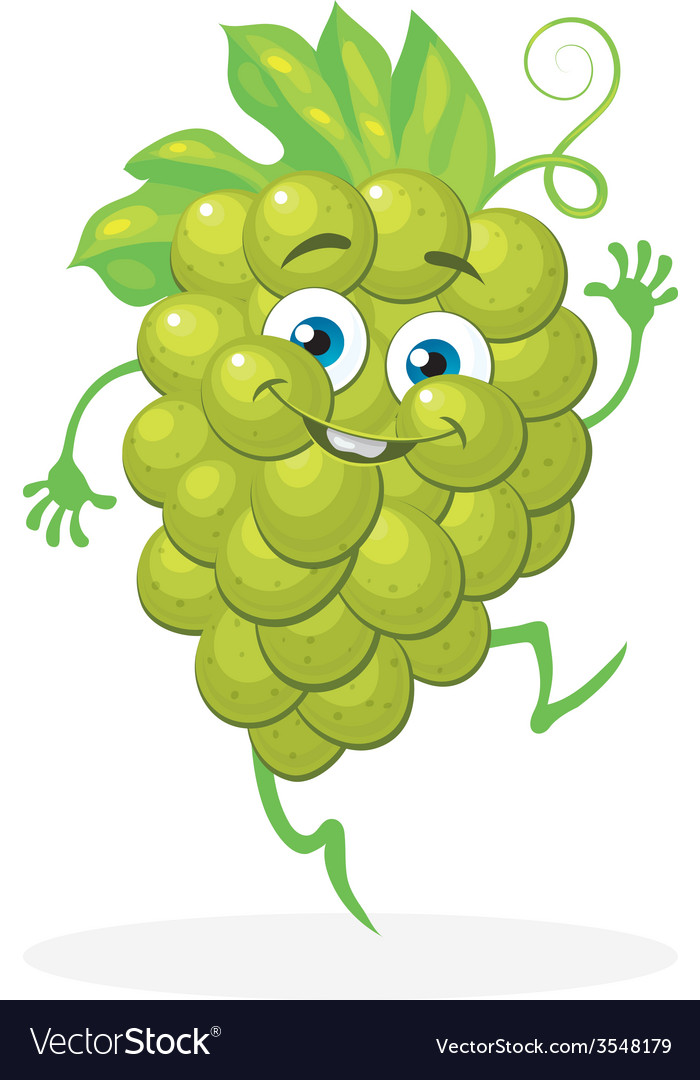 Cute grapes on a white background character vector | Price: 1 Credit (USD $1)