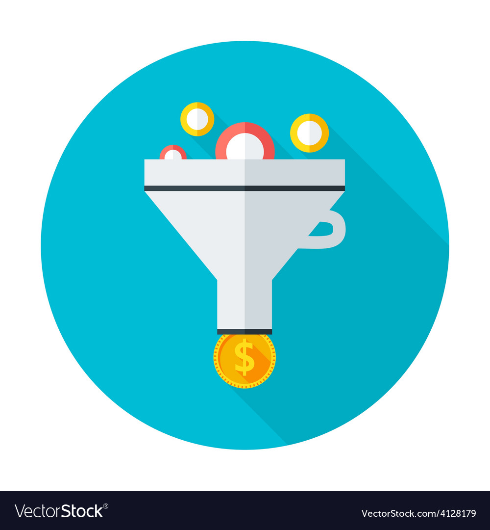 Funnel flat circle icon vector | Price: 1 Credit (USD $1)