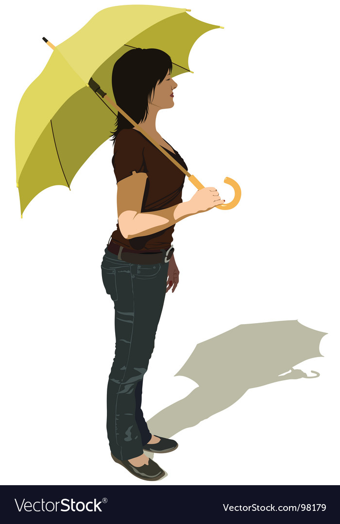 Girl with umbrella vector | Price: 3 Credit (USD $3)