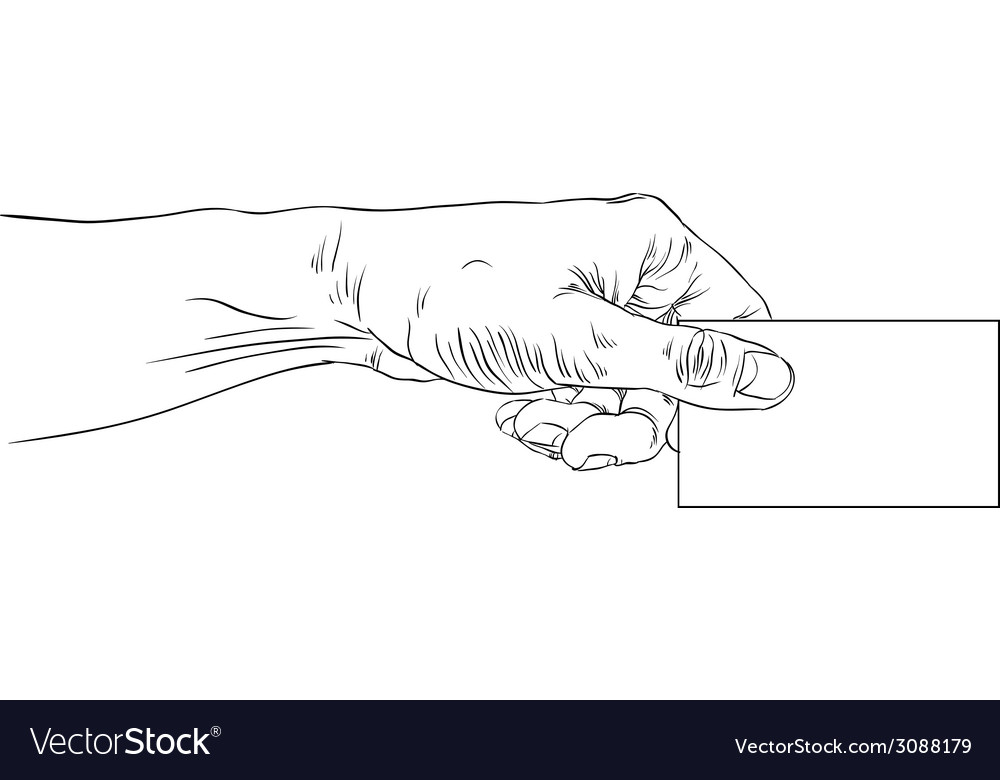 Hand giving business card detailed black and white vector | Price: 1 Credit (USD $1)