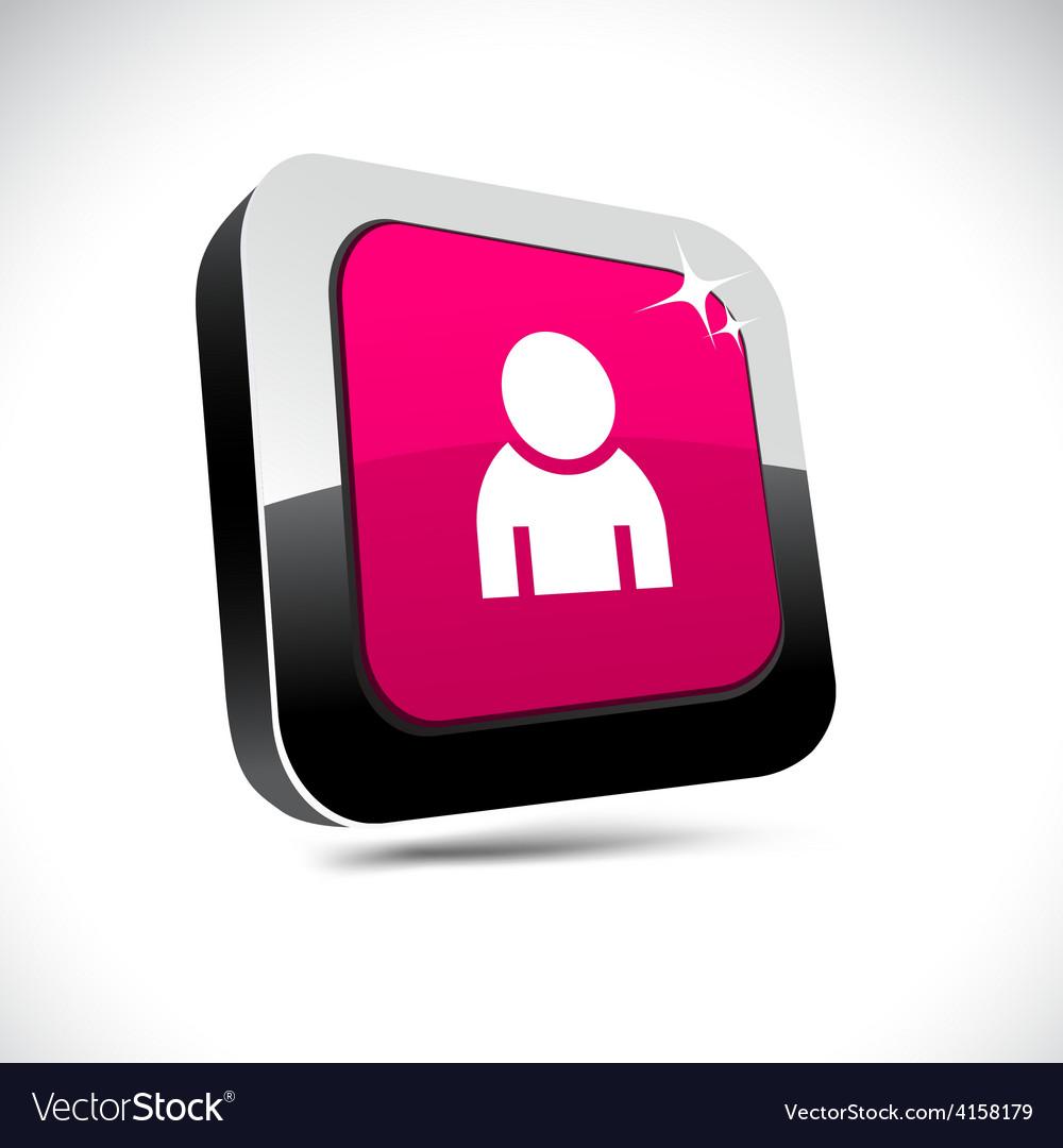 Person 3d square button vector | Price: 1 Credit (USD $1)