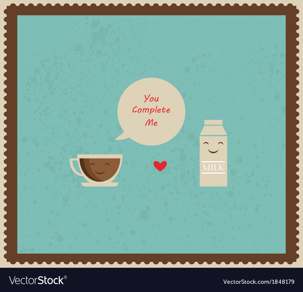 Retro valentines card with coffee and milk vector | Price: 1 Credit (USD $1)