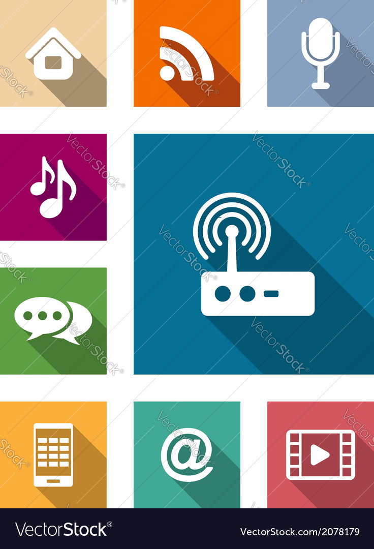 Set of flat media and communication icons vector | Price: 1 Credit (USD $1)