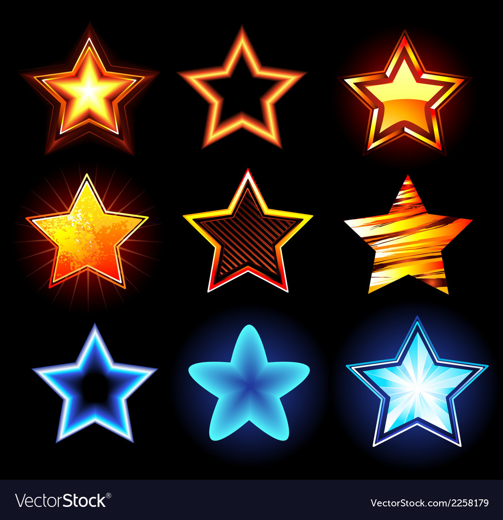 Set of glowing stars vector | Price: 1 Credit (USD $1)