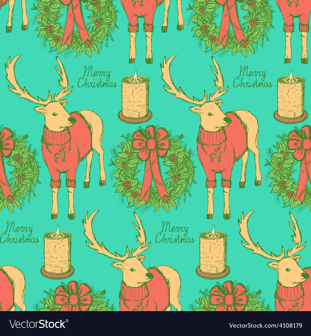 Sketch fancy reindeer with candle and wreath in vector | Price: 1 Credit (USD $1)