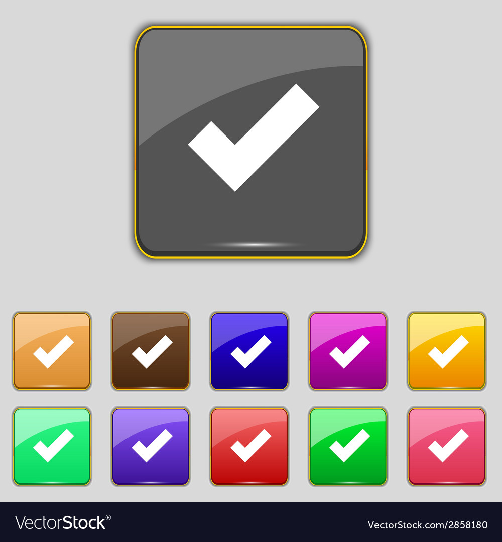 Check mark sign icon  confirm approved symbol set vector   Price: 1 Credit (USD $1)