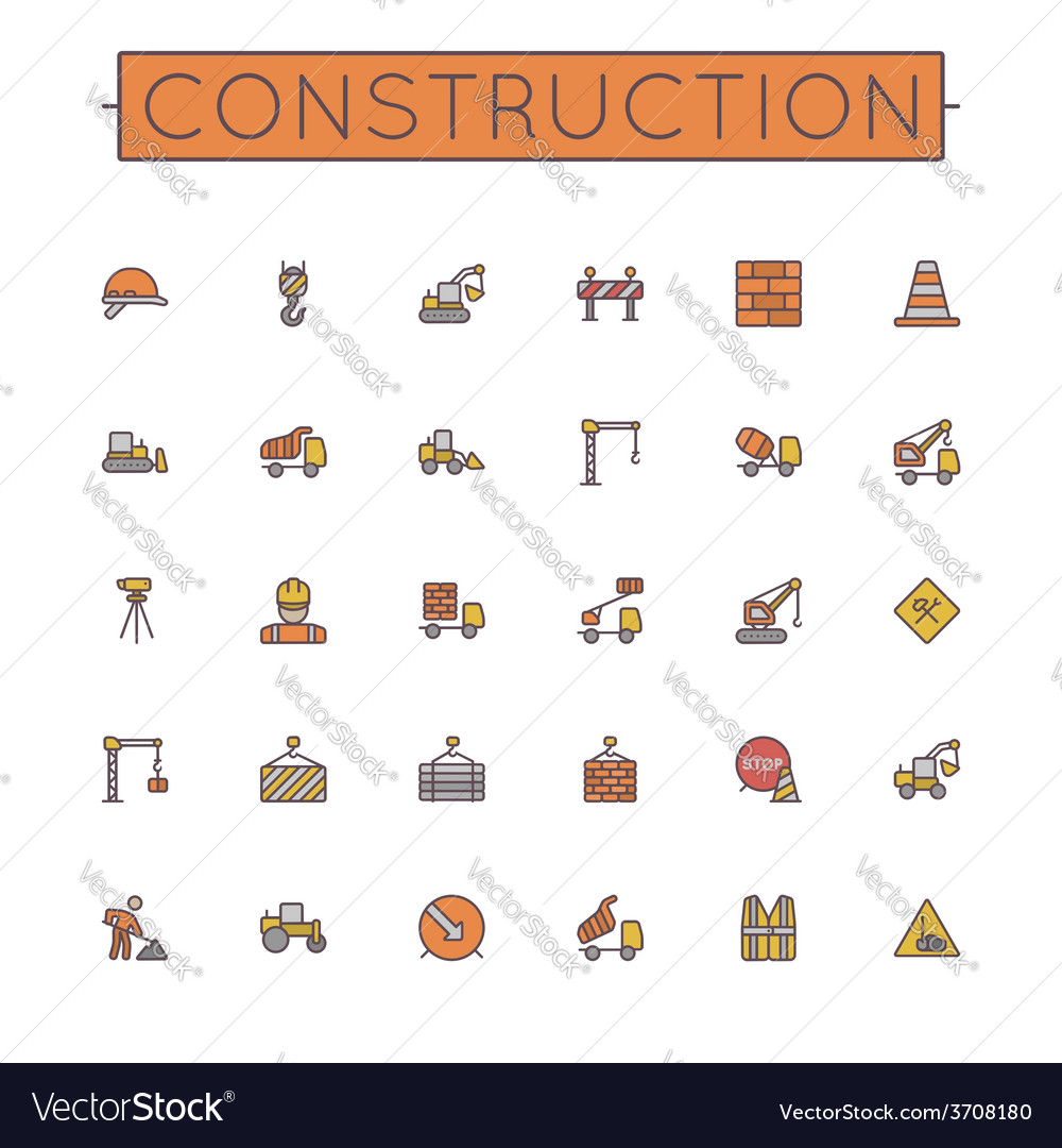 Colored construction line icons vector | Price: 1 Credit (USD $1)