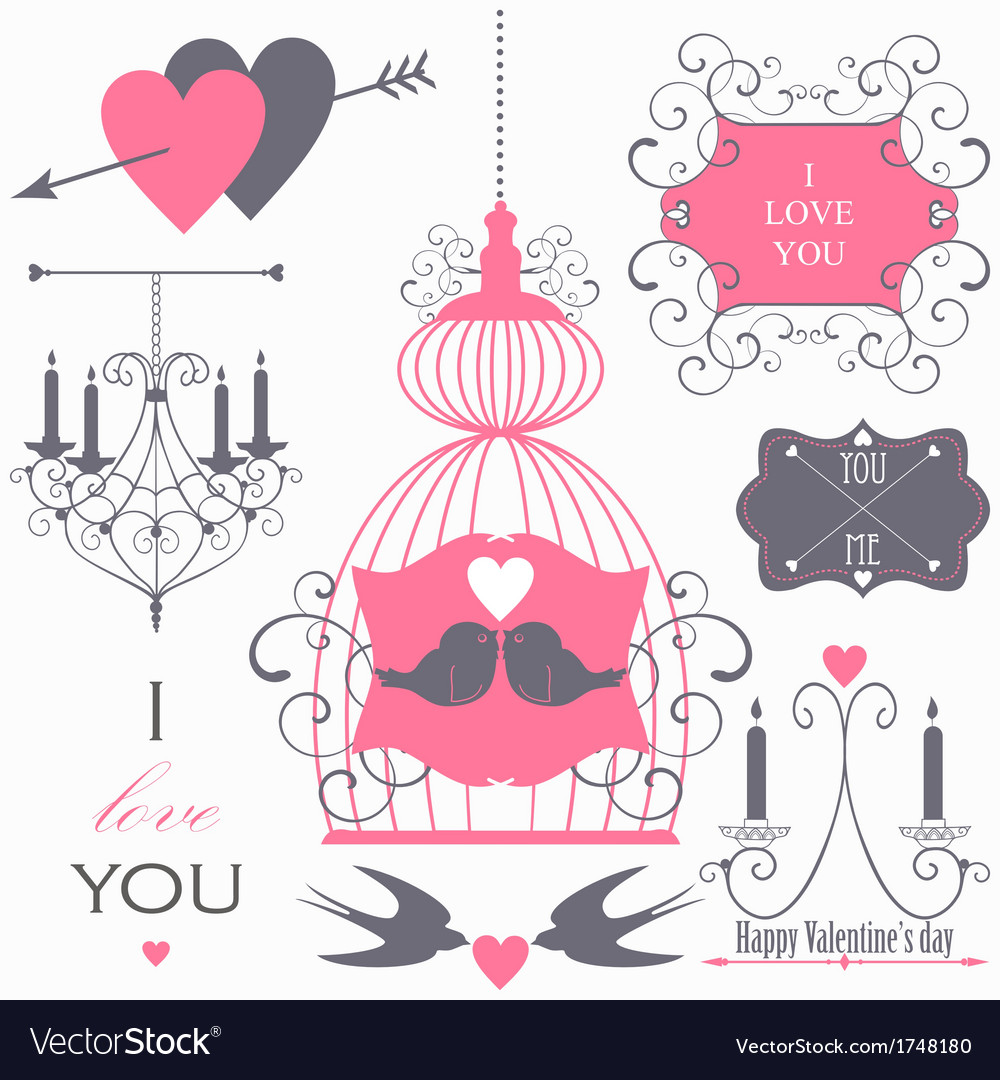 Decorative set of artistic valentins day elements vector | Price: 1 Credit (USD $1)