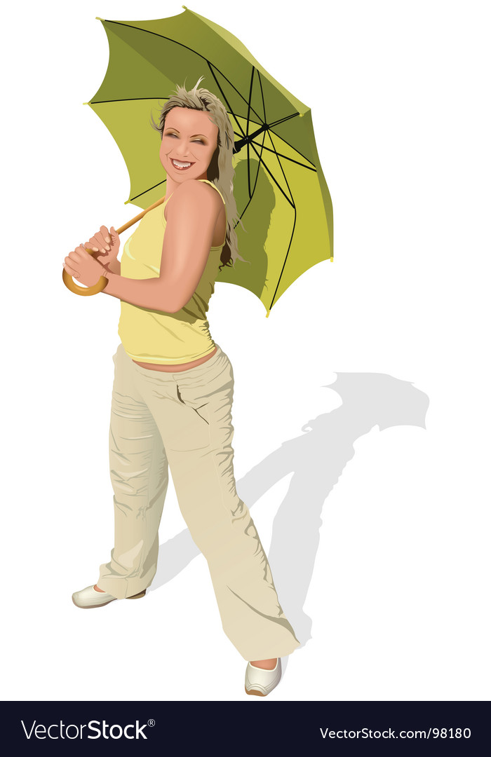Girl with umbrella vector | Price: 5 Credit (USD $5)
