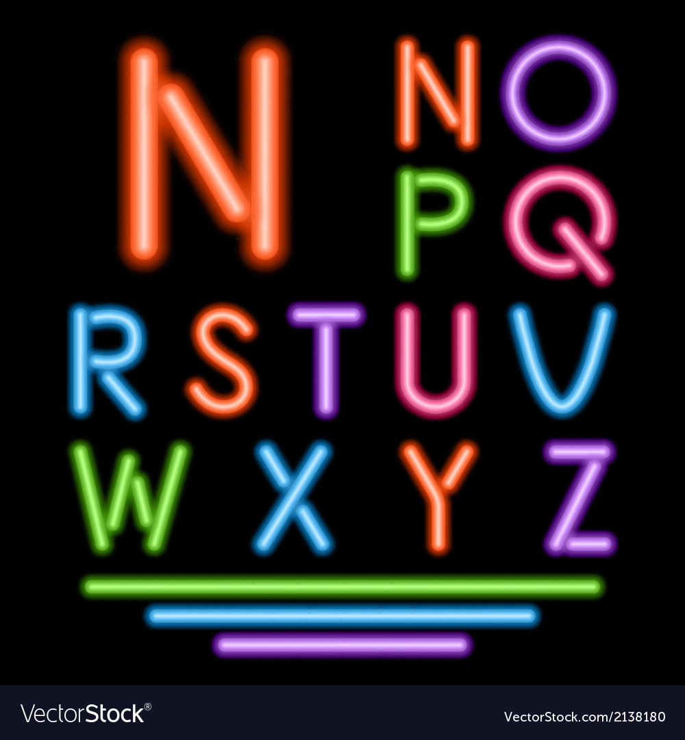 Neon tube letters multicolor glowing font vector | Price: 1 Credit (USD $1)