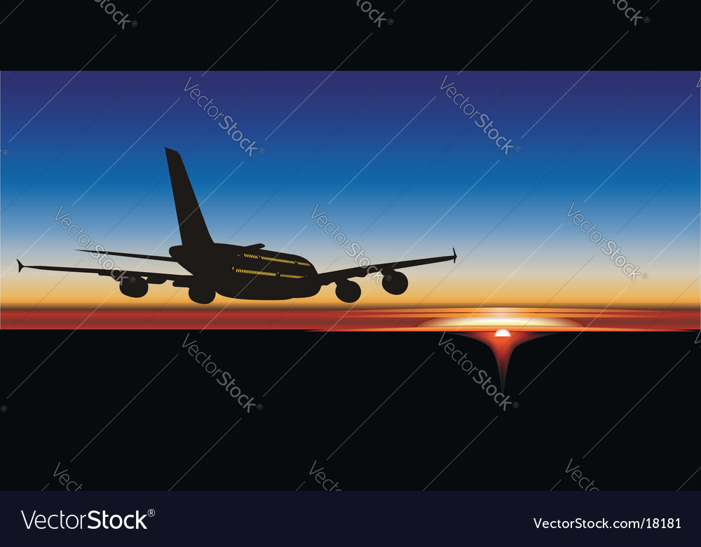 A-380 jet silhouette at sunrise vector | Price: 1 Credit (USD $1)
