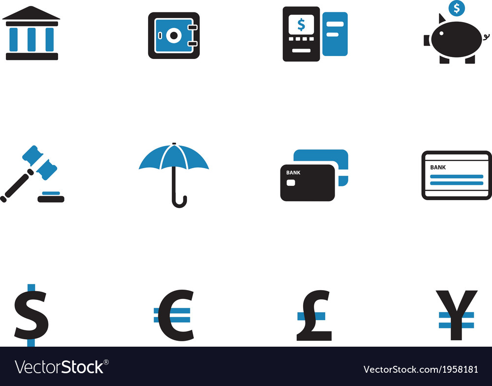 Banking duotone icons on white background vector | Price: 1 Credit (USD $1)