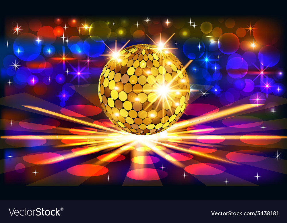 Bright background with golden disco vector | Price: 1 Credit (USD $1)