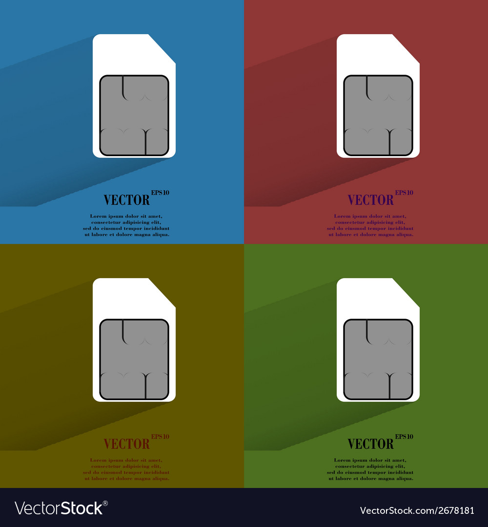 Color set sim card flat modern web button with vector | Price: 1 Credit (USD $1)