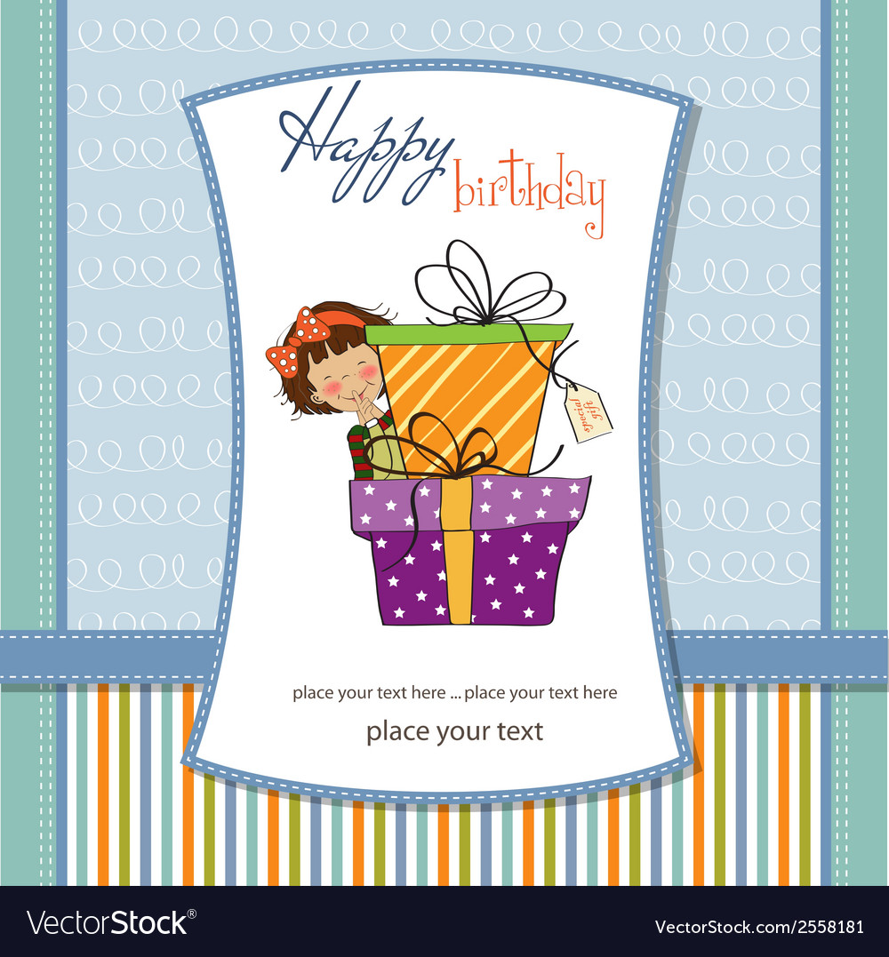 Cute little girl hidden behind boxes of gifts vector | Price: 1 Credit (USD $1)