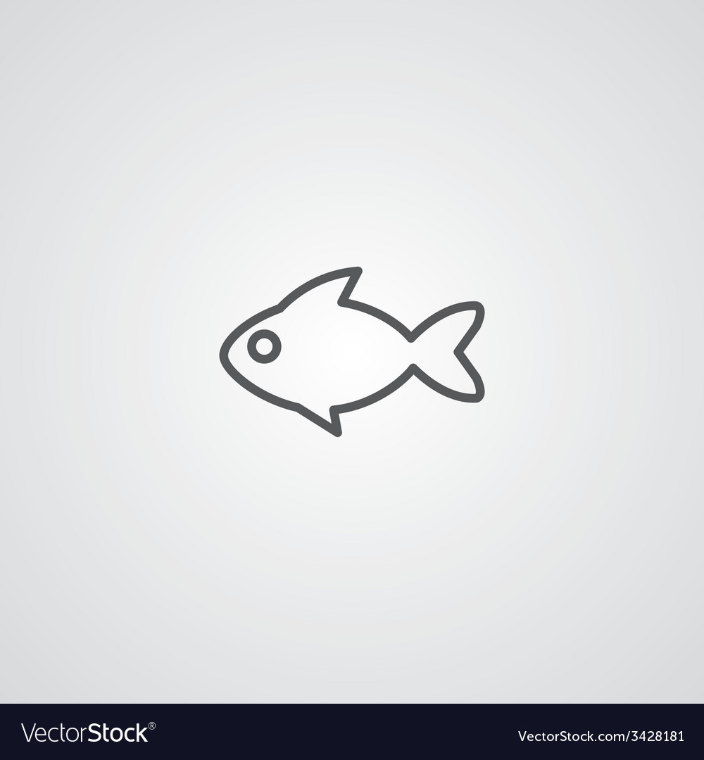Fish outline symbol dark on white background logo vector | Price: 1 Credit (USD $1)
