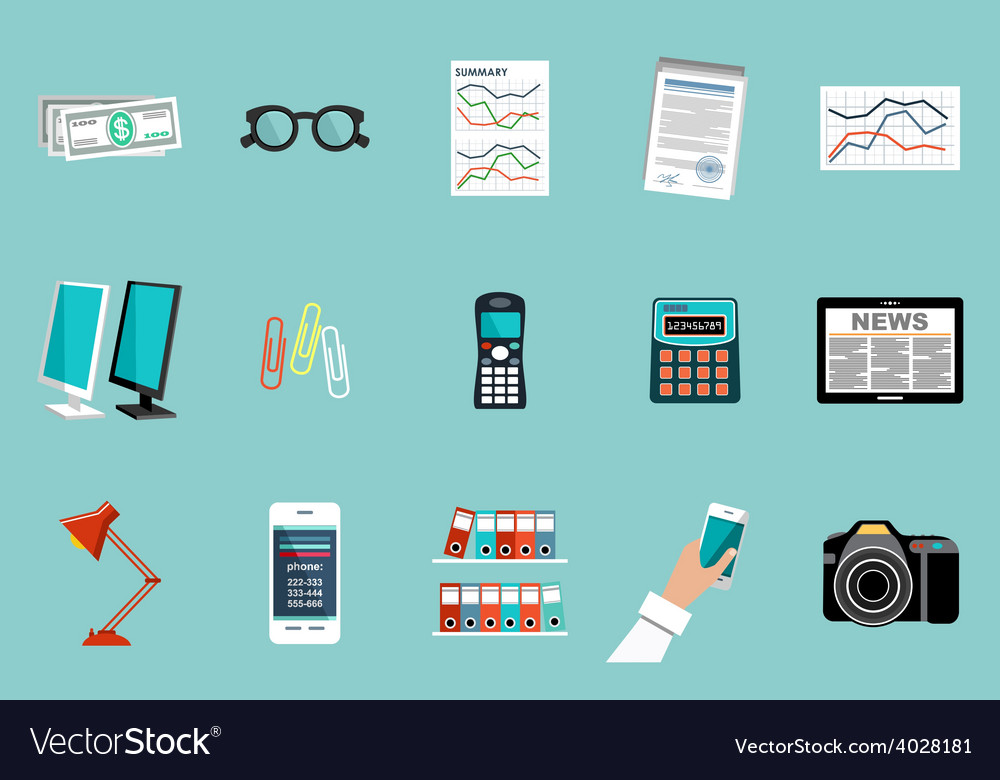 Flat set of office things vector | Price: 1 Credit (USD $1)