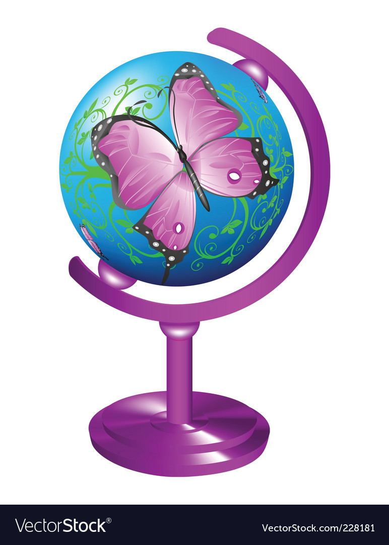 Globe with butterfly vector | Price: 1 Credit (USD $1)