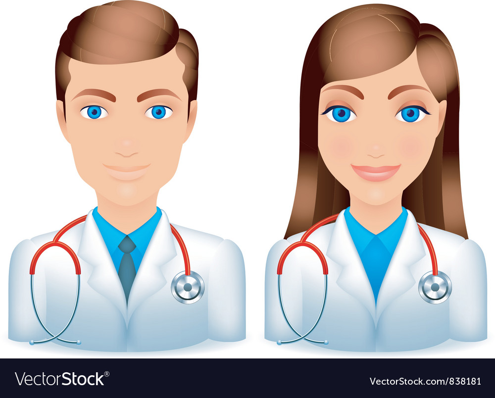 Male and female doctors vector | Price: 1 Credit (USD $1)