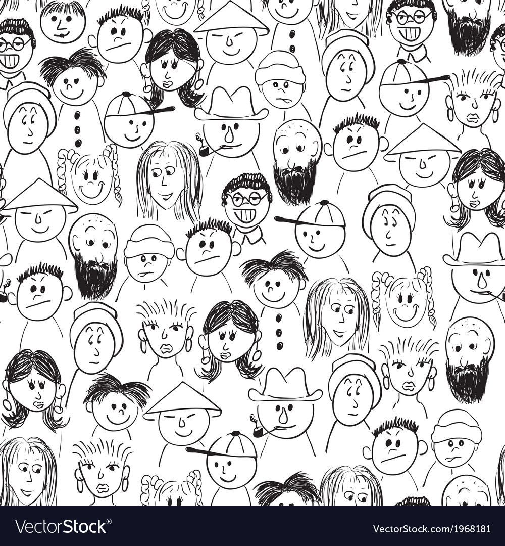 Seamless crowd of people vector | Price: 1 Credit (USD $1)