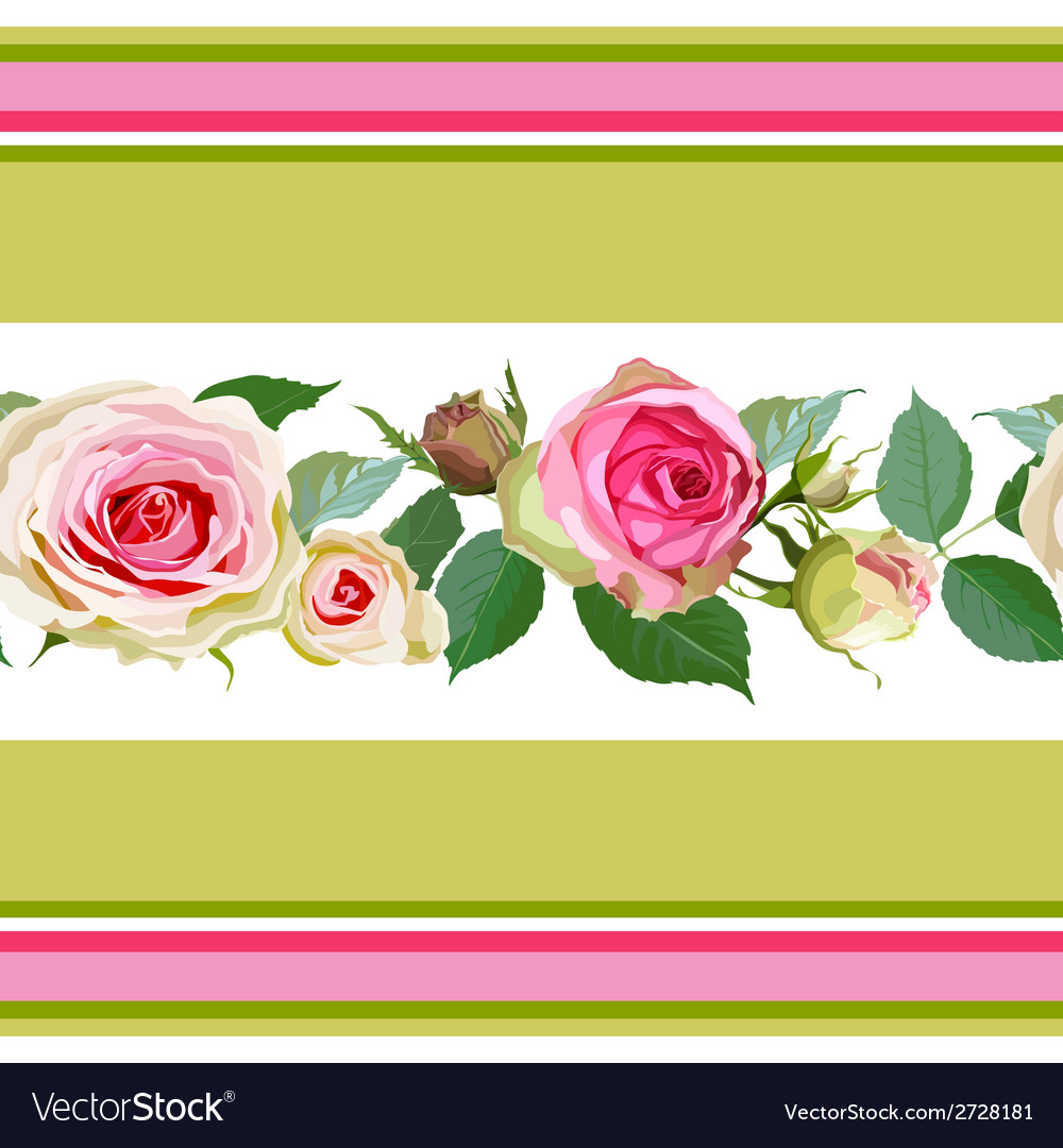 Seamless pattern with roses and stripes vector | Price: 1 Credit (USD $1)
