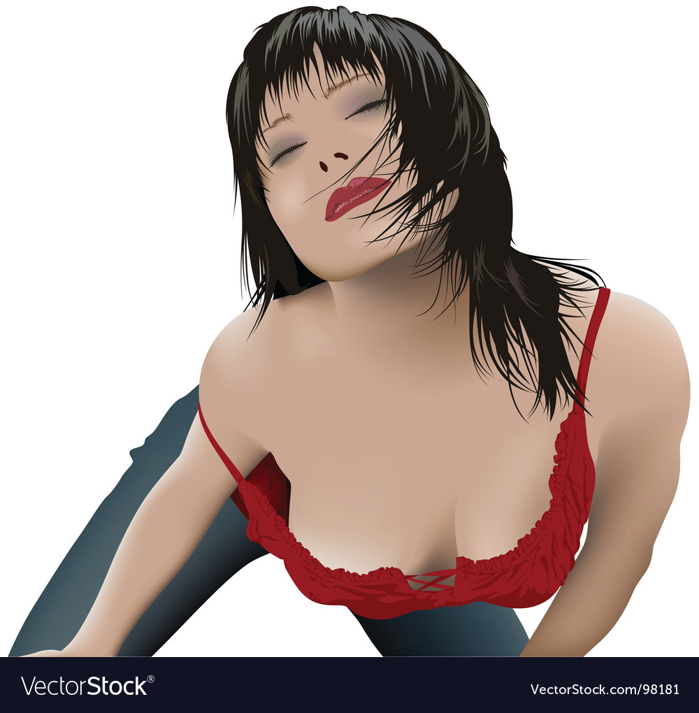 Sexy girl with black hair vector | Price: 3 Credit (USD $3)
